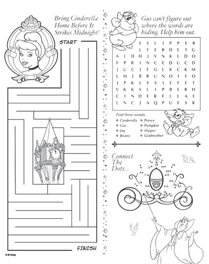 cinderella activity sheet printable rewards disney movie rewards