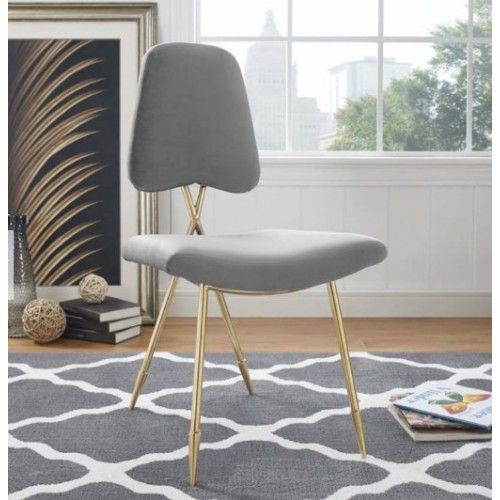 Excellent Grey Velvet Gold Toothpick Leg Accent Dining Chair In 2019 Evergreenethics Interior Chair Design Evergreenethicsorg