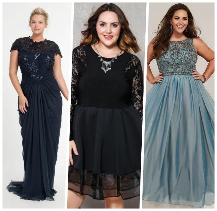 festliche kleider große größen, dunkelblaues kleid in ...