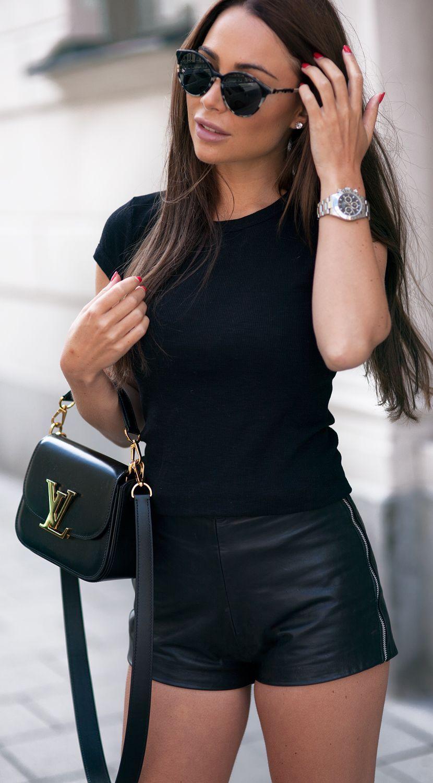 Black Zip Detail Shorts by Johanna Olsson