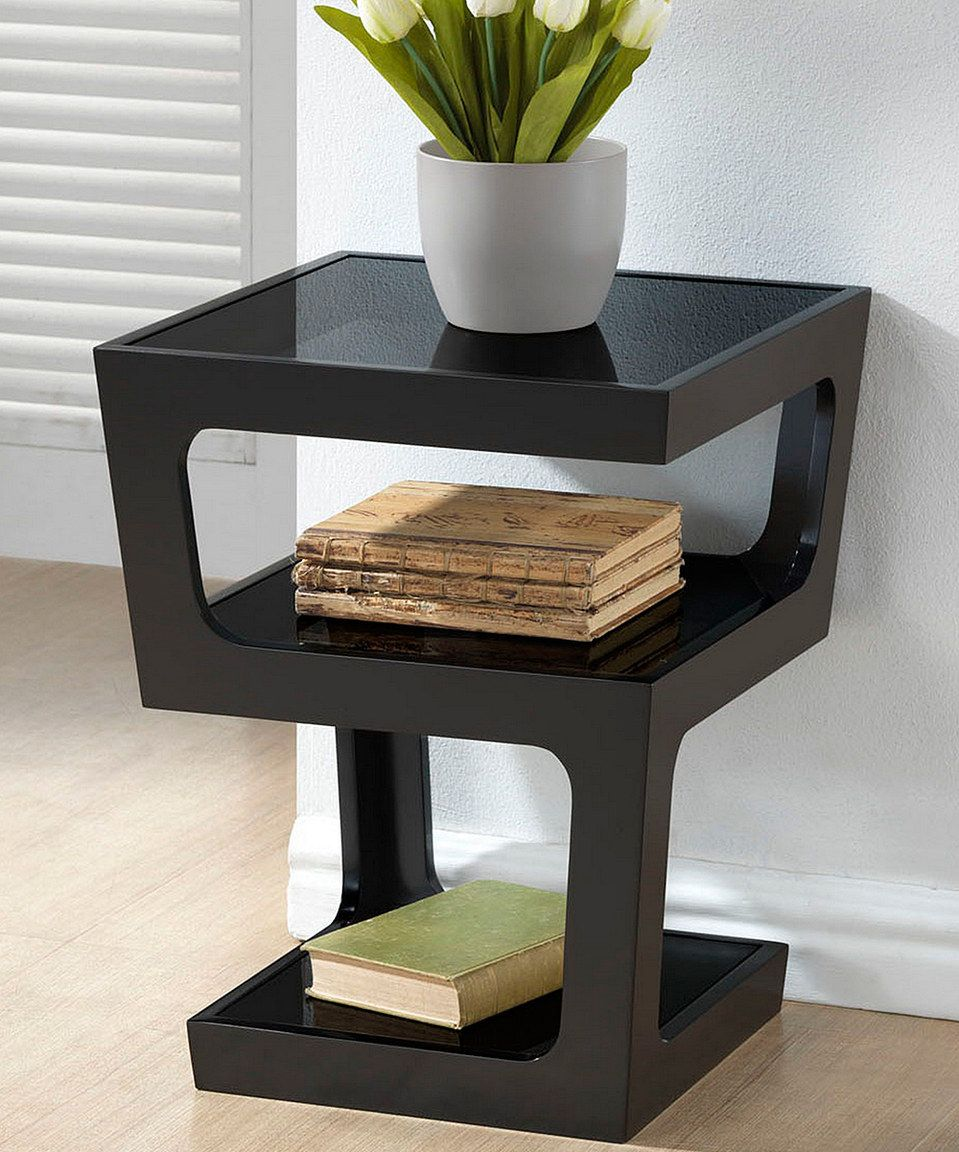 This Black Modern Tall Three Tier End Table By Baxton Studio Is Perfect Zulilyfinds Glass Top End Tables End Tables Sofa End Tables