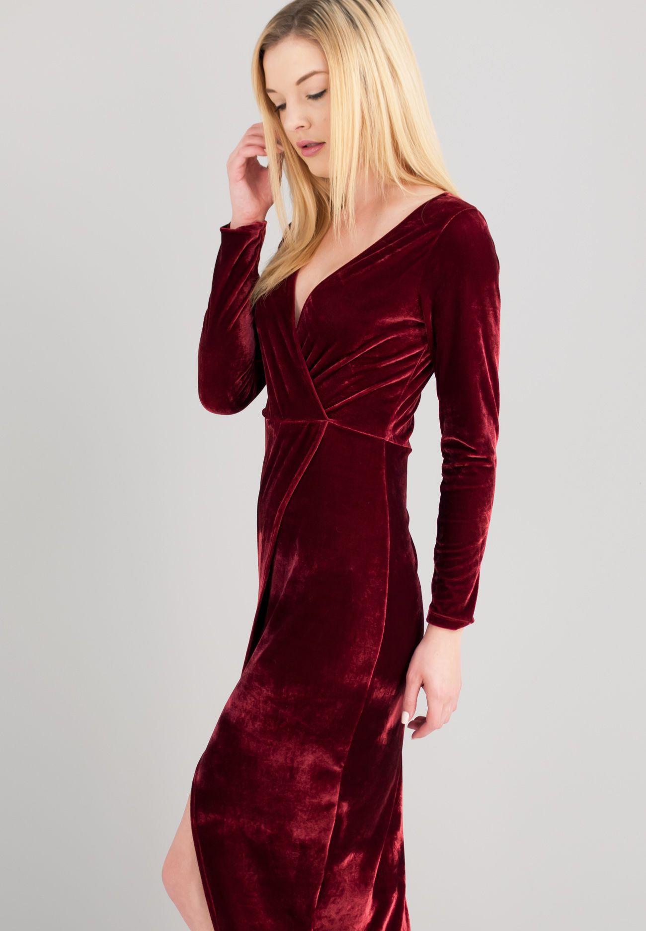 fd625005d03e Maxi κρουαζέ βελούδινο φόρεμα με σκίσιμο μπροστά.