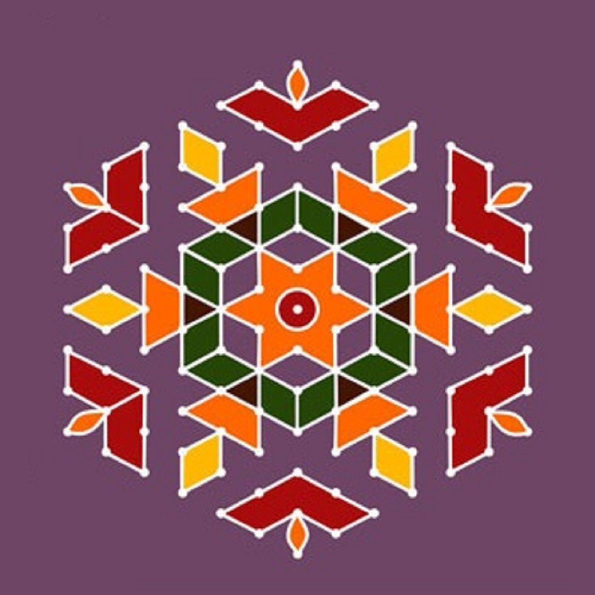 Simple dot rangoli design rangoli designs pinterest for Dots design apartment 8