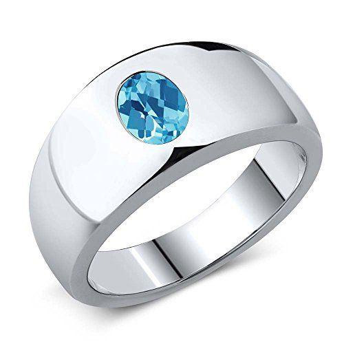 130 Ct Oval Checkerboard Swiss Blue VS Topaz 925 Sterling Silver Mens Ring -- Click image to review more details.