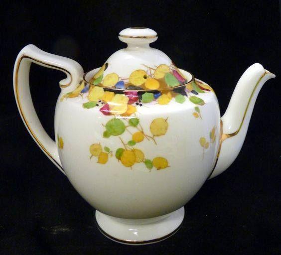 Tea Party Bone China English Antique Porcelain Pink Floral Tableware Home Decor Gift Teapot Gold Trim Royal Doulton Coffee Pot