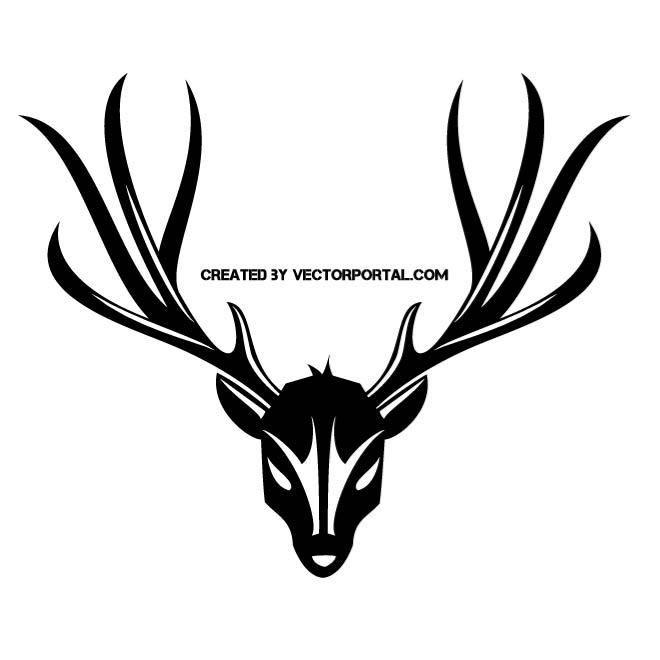 deer skull and antler silhouette.   animal vectors   pinterest