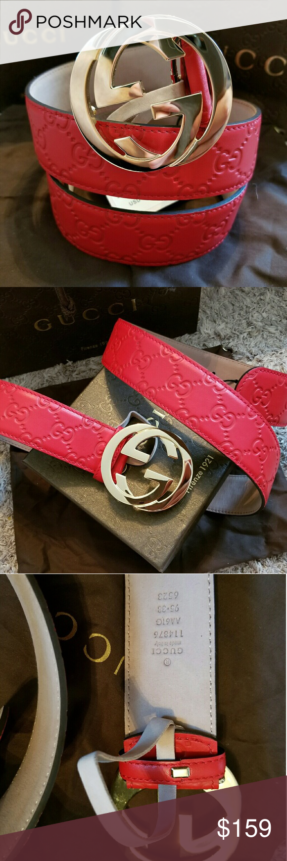 c79f539b948 😍Authentic Gucci Belt Red Guccissima Print 😍Authentic Gucci Belt Red  Guccisima Print with Gold GG Buckle. Nice! Comes with tags