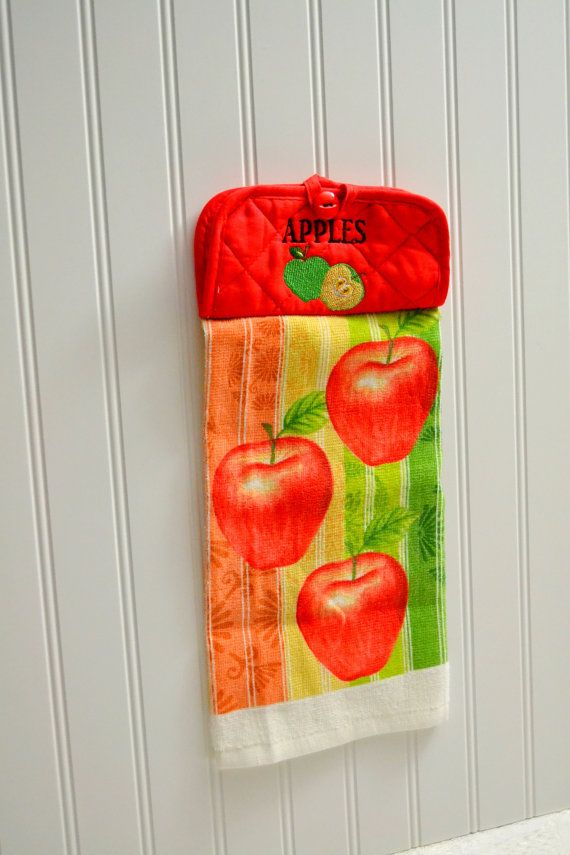 Apple Pot Holder Hanging Hand Towels, Arrows Embroidered