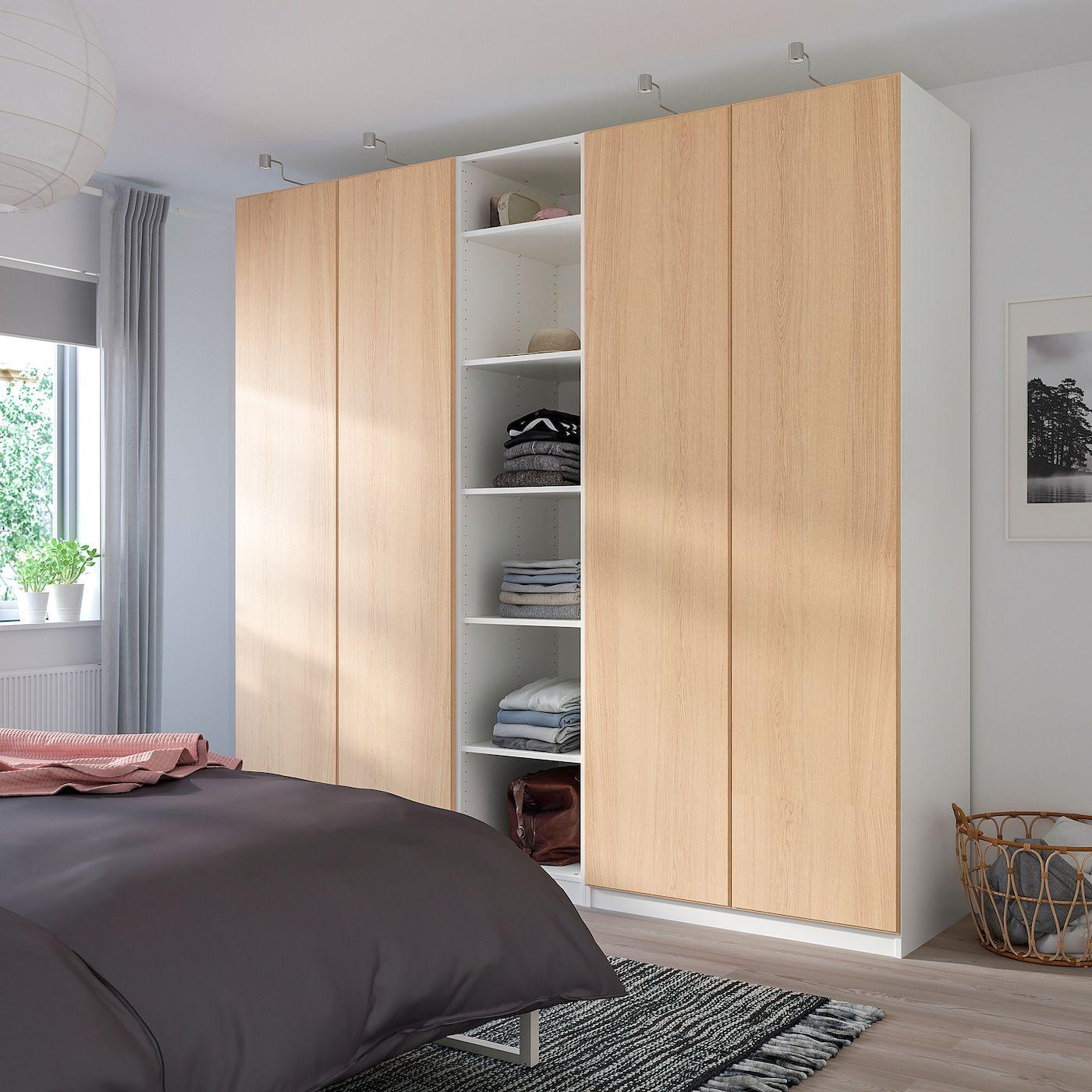 PAX Wardrobe – white, Repvåg white stained oak veneer – IKEA