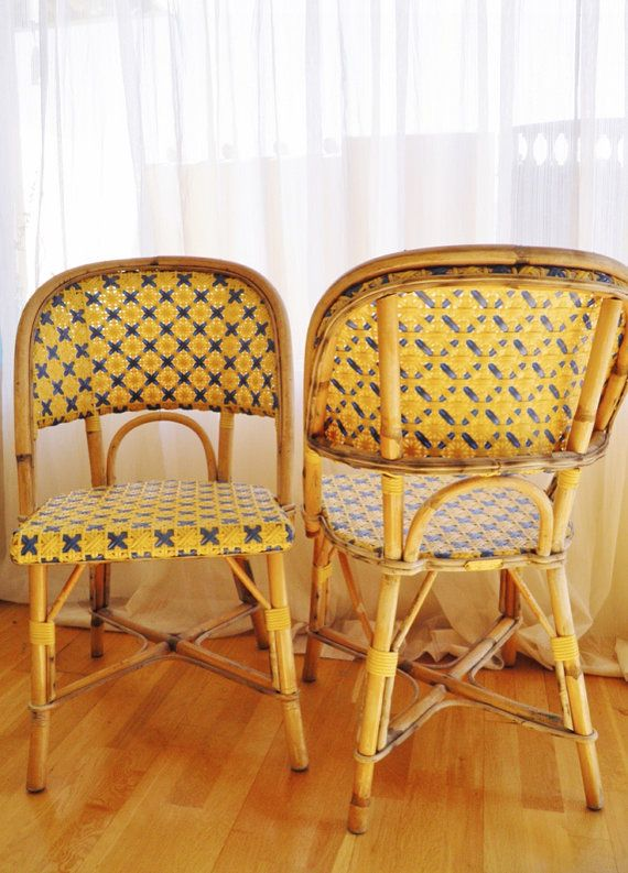set of 2 french rattan cafe chairs by drucker of france very rare to the us