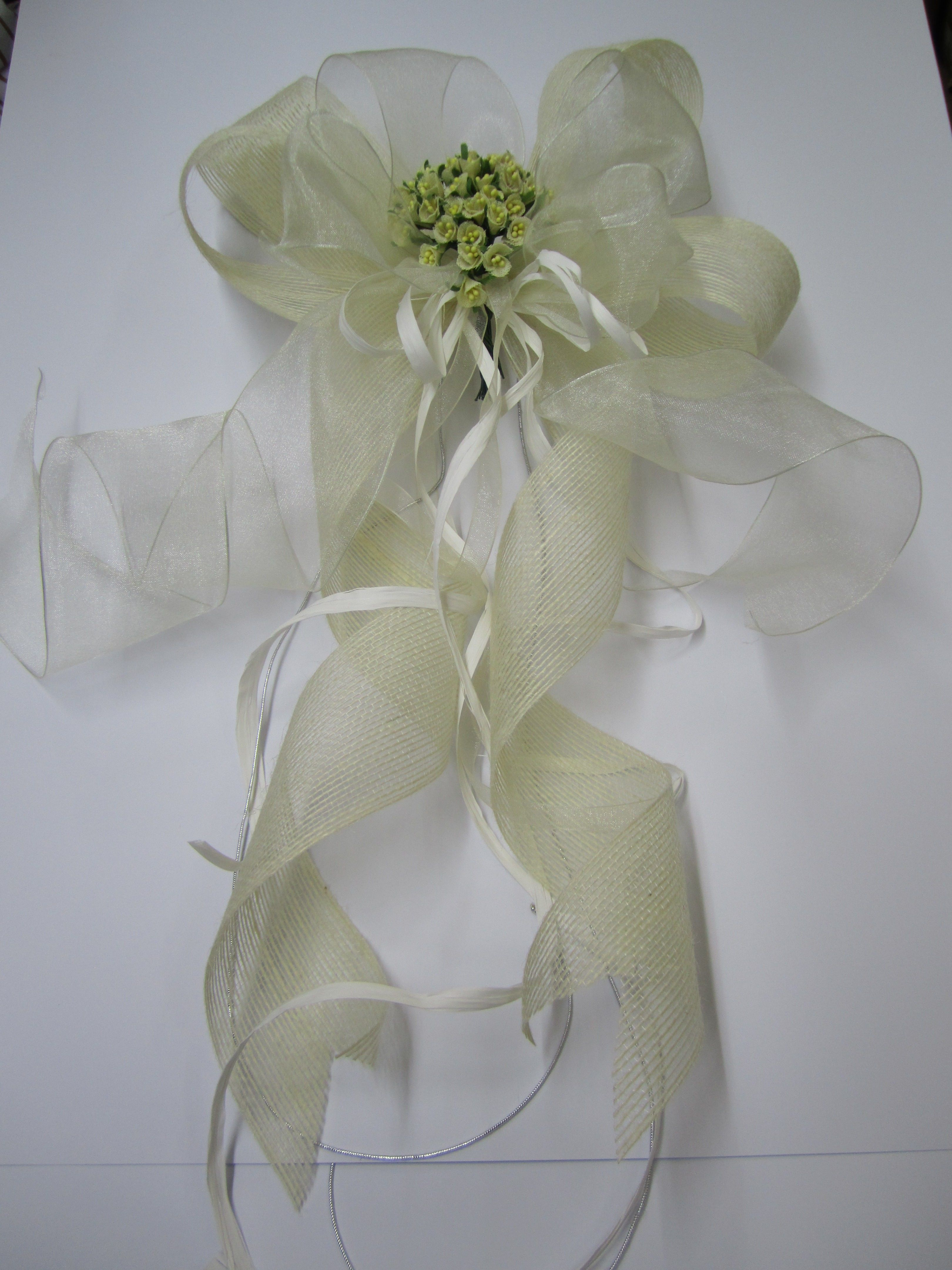 Lazo de boda en cinta de organza y yute bodas - Lazos con cintas ...