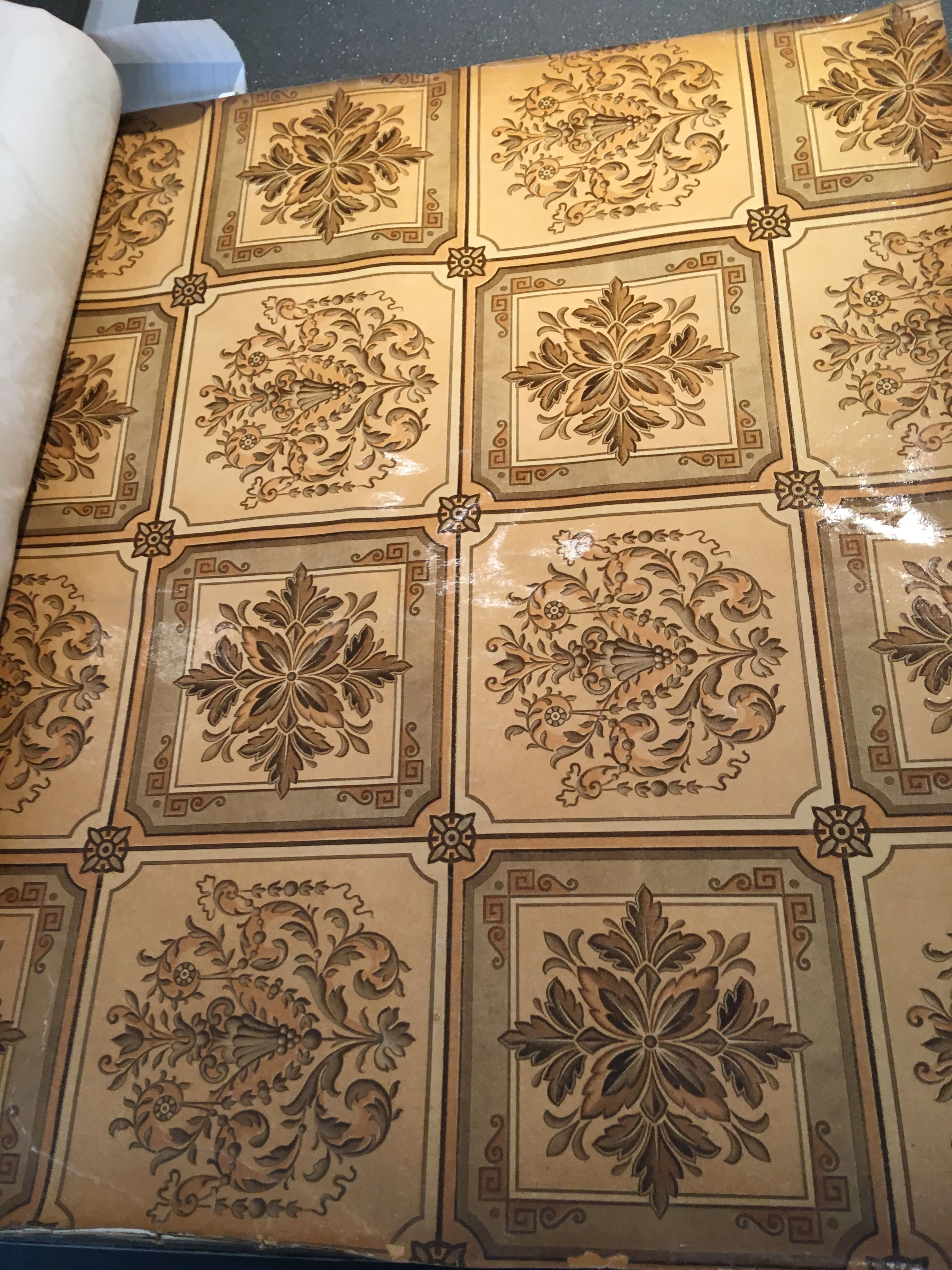 Victorian sanitary wallpaper with tile design dating 1892