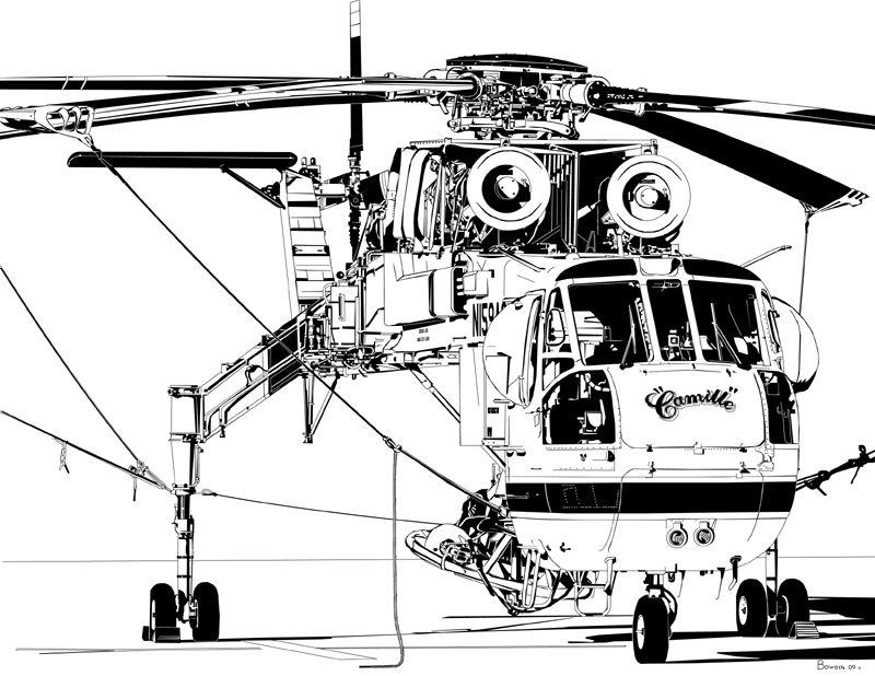 """Erickson Air Crane """"Camille"""" Airplane art, Aircraft art"""