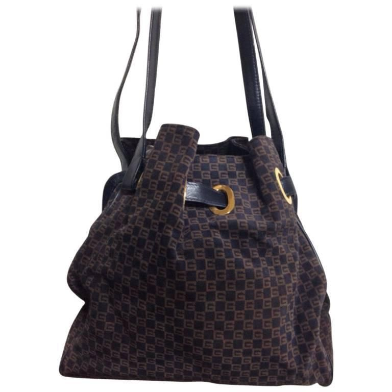 56b26bfc881 Vintage gucci navy and brown suede leather mini hobo bucket shoulder jpg  768x768 Vintage gucci leather