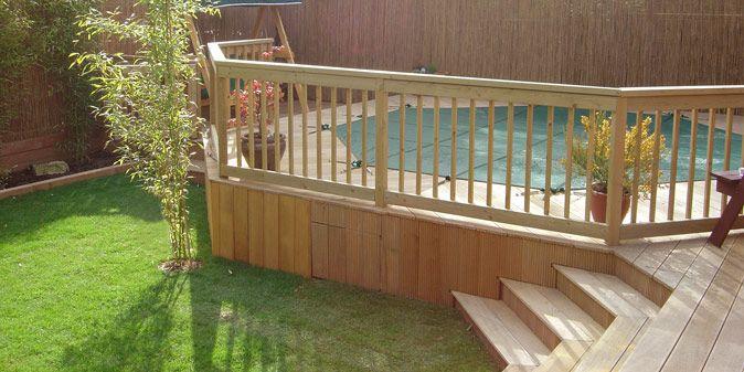 Construir una terraza de madera alrededor de la piscina elevada para que parezca enterrada - Construir una terraza ...