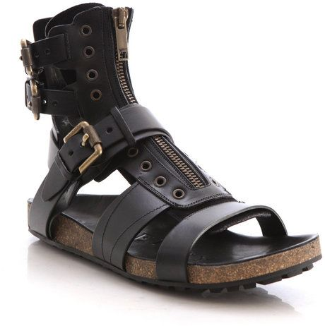 87f73df95 Burberry Prorsum Leather Runway Sandals in Black for Men - Lyst