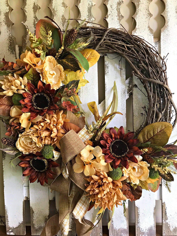 Front Door Autumn Wreath Sunflower Vine Wreath with Fall Flowers
