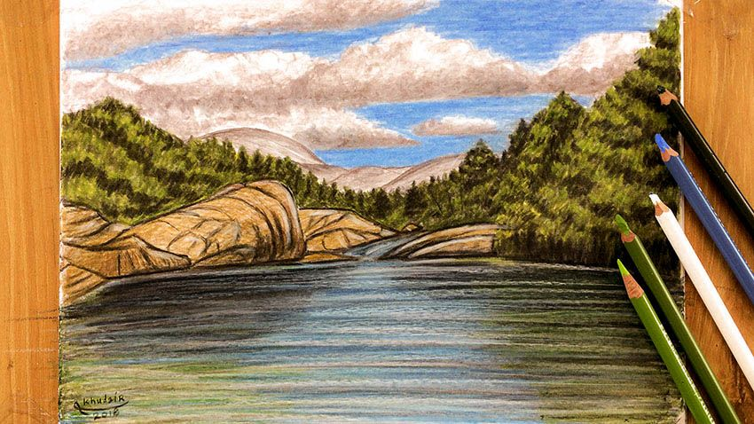 How To Draw A Landscape In Wood Colors Landscape Drawings Painting