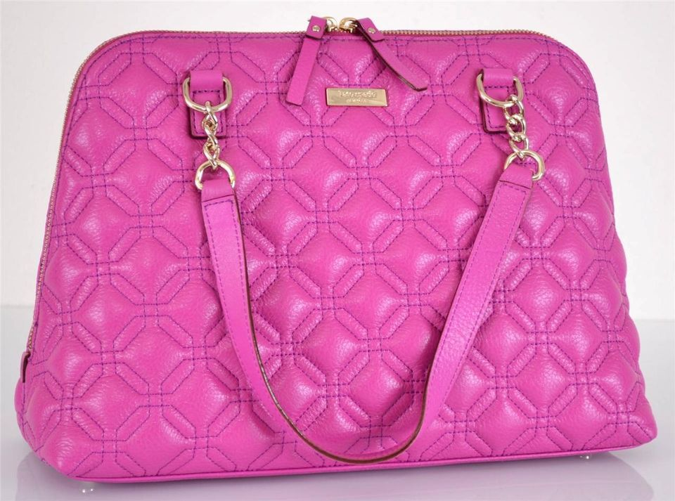 New Kate Spade 458 Bajarose Pink Quilted Leather Rachelle Astor Court Purse Bag Quilted Leather Leather Shoulder Bag Bags
