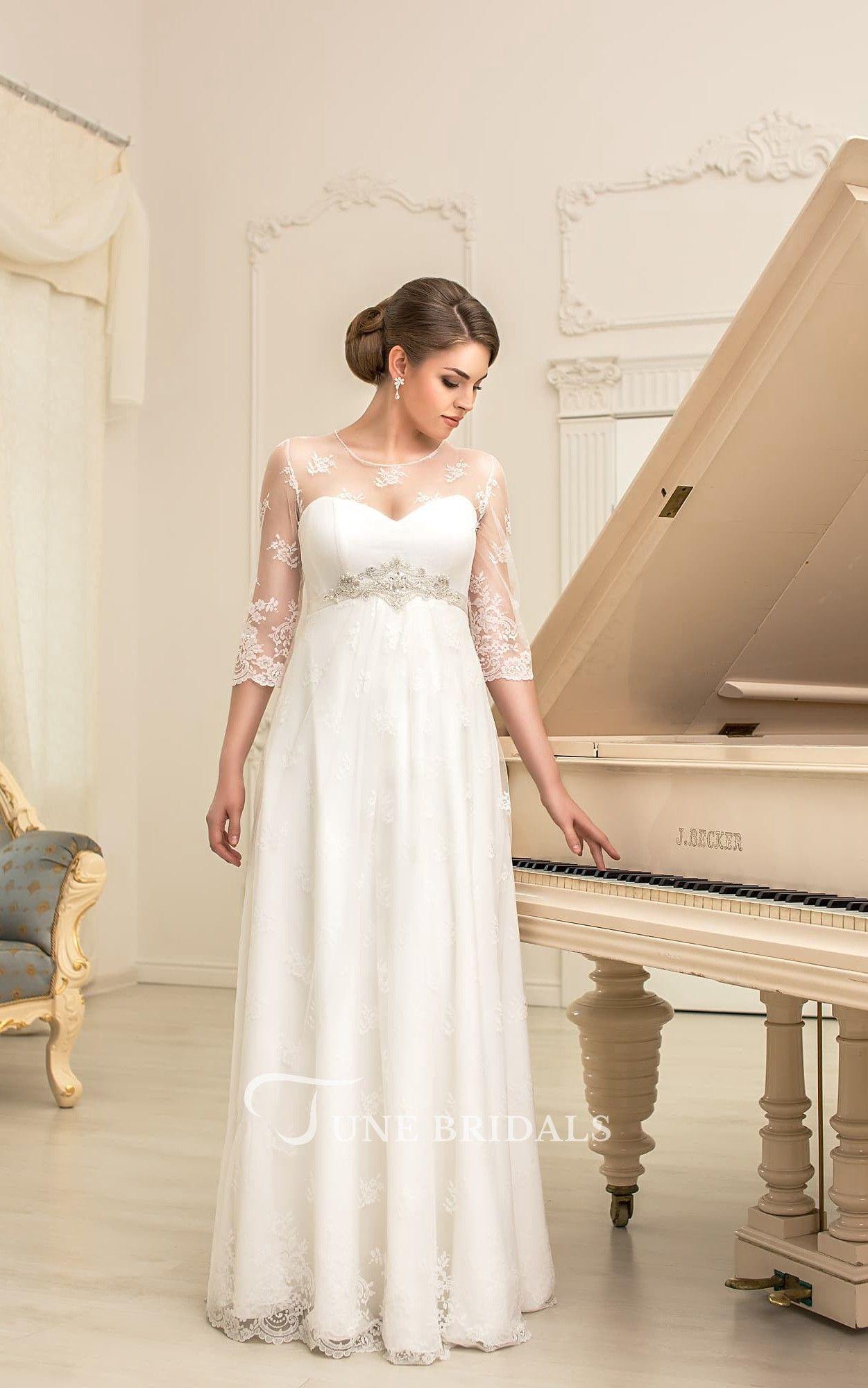Aline long jewelneck illusionsleeve empire corsetback lace dress