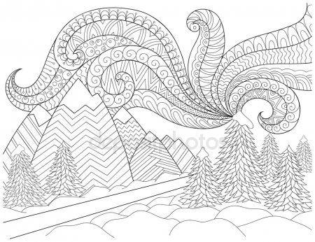 Reticolo Di Doodle In Bianco E Nero Paesaggio Invernale Strada