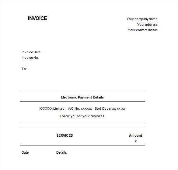 Invoice Template UK , Receipt Template Doc for Word Documents in - invoice template microsoft