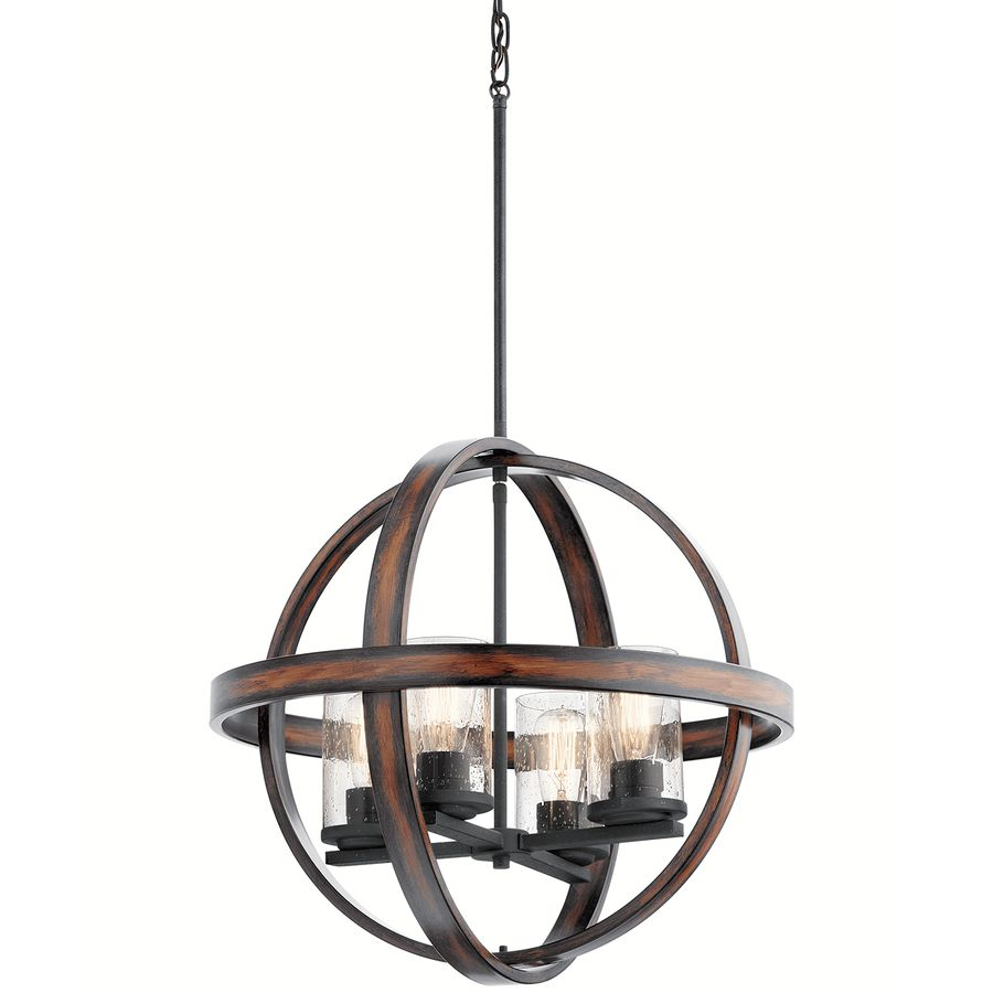 shop kichler barrington distressed black and wood art deco hardwired single seeded glass orb standard pendant in the pendant lighting section of lowes