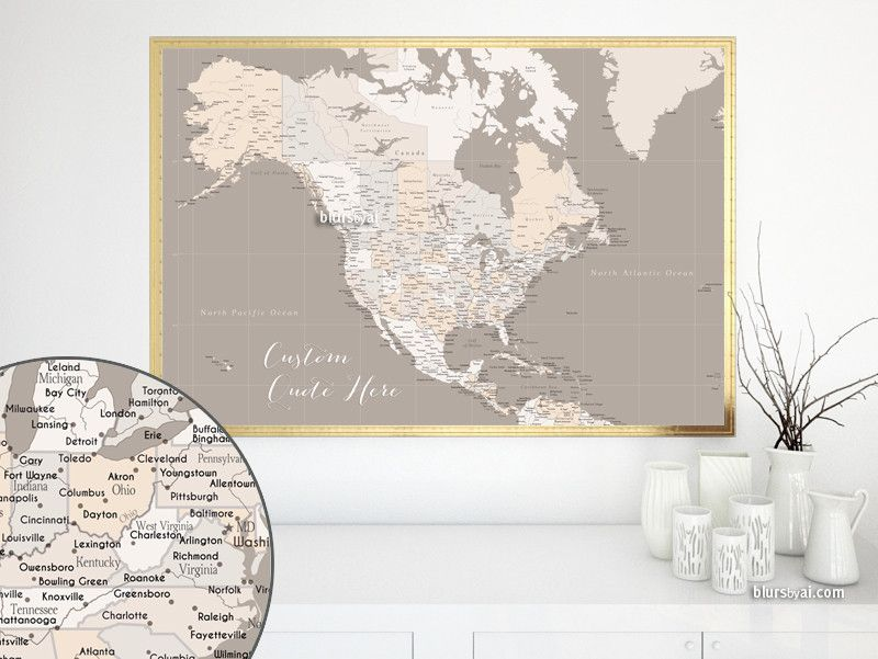 Custom Quote Highly Detailed North America Printable With Cities Capitals Countries Us States Labeled Light Earth Tones Detailed World Map World Map Printable Earth Tones
