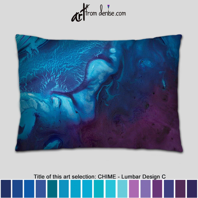 Plum purple and navy blue lumbar pillow