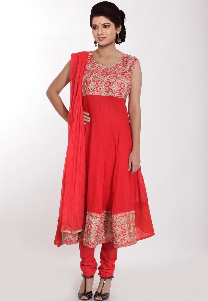 Red Chanderi Cotton Anarkali