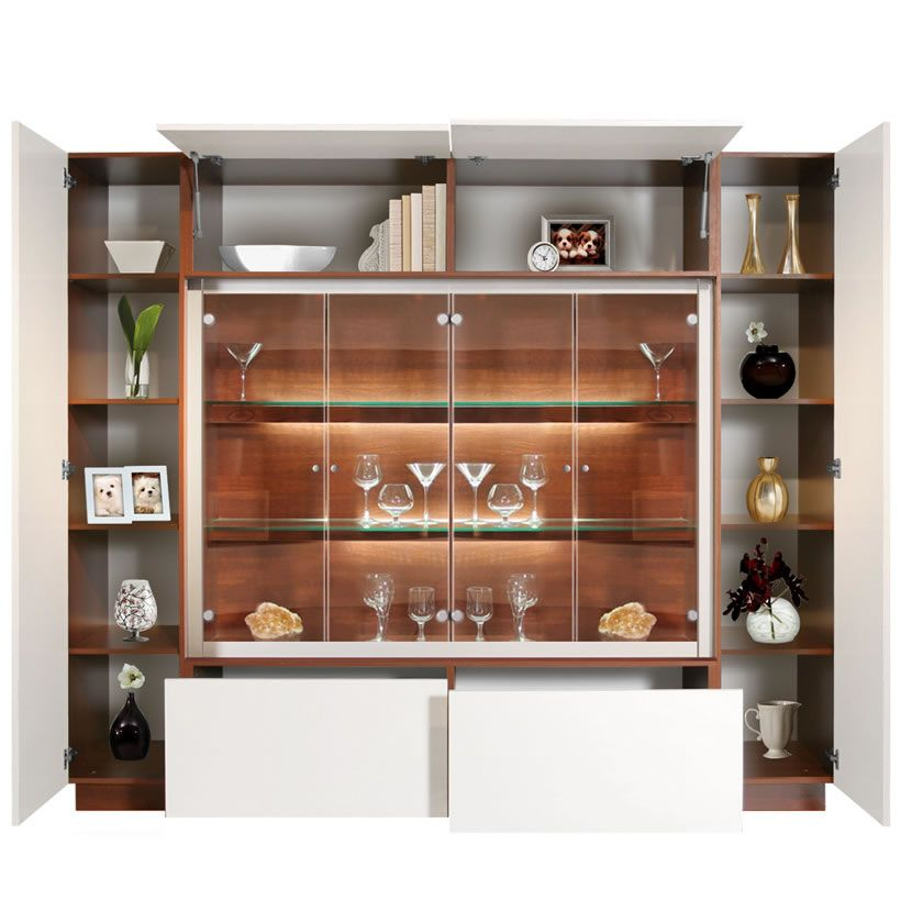 Jamison Display Cabinet Modern Glass Curio Concealed Storage