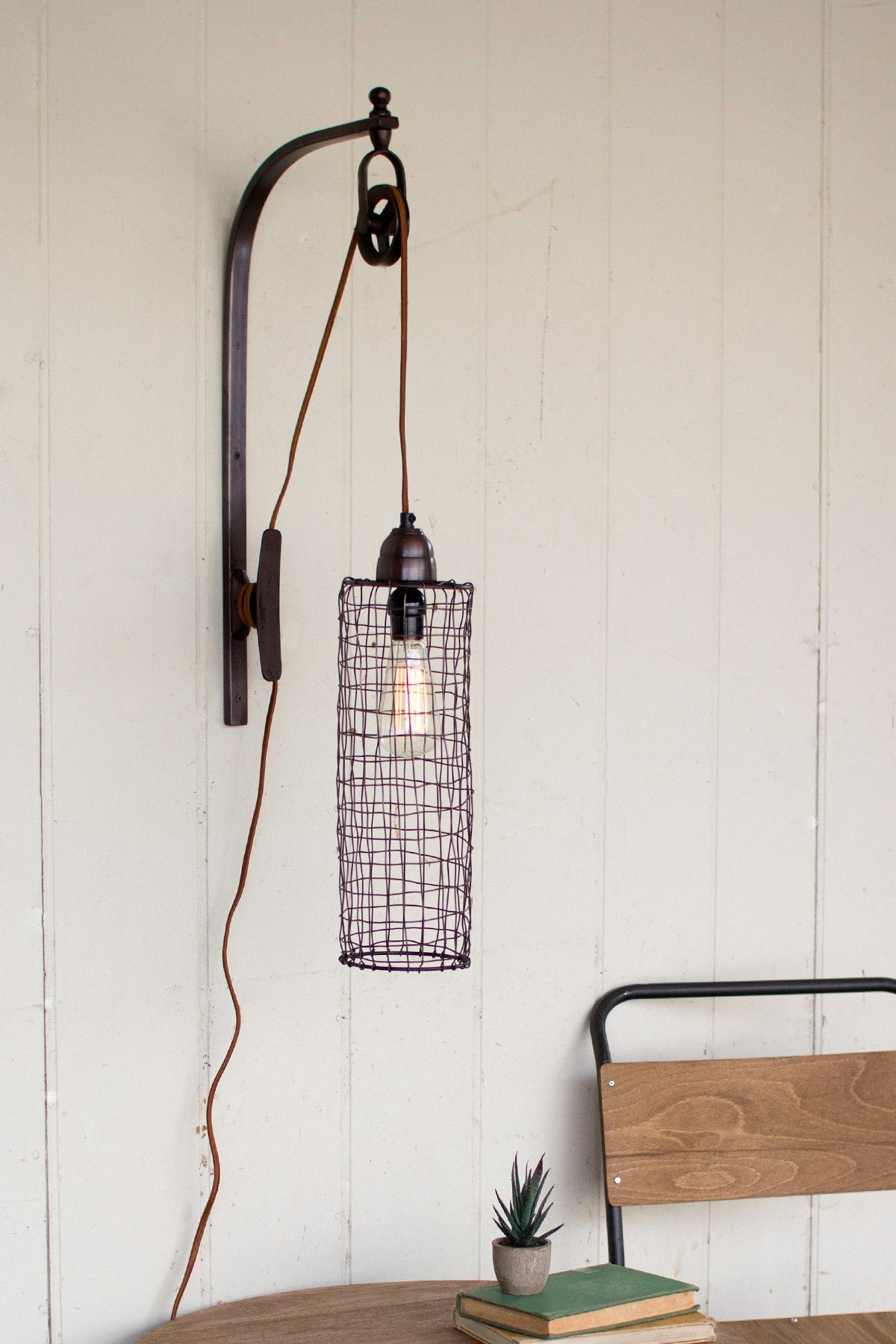 plug in industrial lighting. Industrial Modern Edison Cage And Pulley Plug In Wall Sconce Lighting
