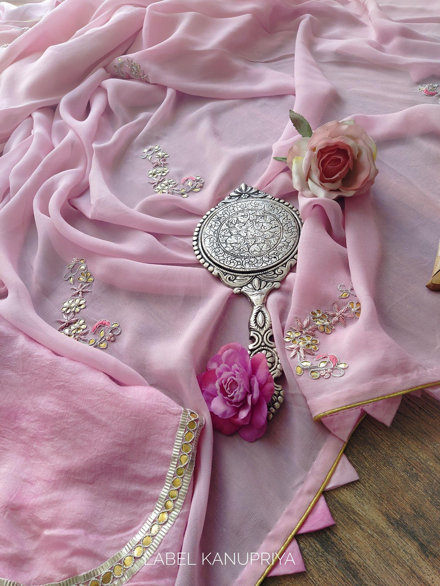 Light Pink Gota Patti Saree with Shibori Blouse #saridress