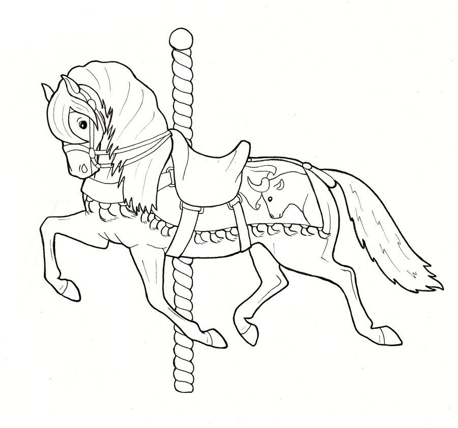 Carousel Horsey 1 By Crawdademily On Deviantart Horse Coloring Pages Carousel Horse Tattoos Abc Coloring Pages