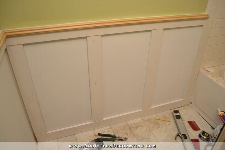 Bathroom Vanity Trim Wainscoting Progress And Painted Walls Addicted 2 Decorating Wainscoting Wainscoting Bathroom Diy Wainscoting