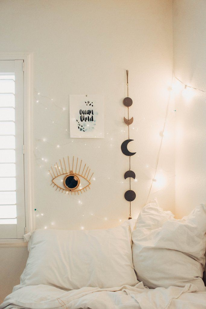 White Fairy Lights Bedroom
