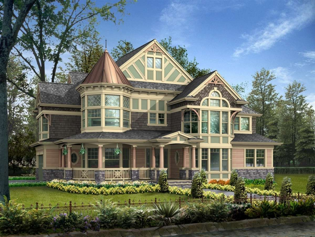 House Plan 341 00163 Victorian Plan 3 965 Square Feet 4 Bedrooms 3 5 Bathrooms Victorian House Plans House Plans Mansion Victorian Homes Exterior