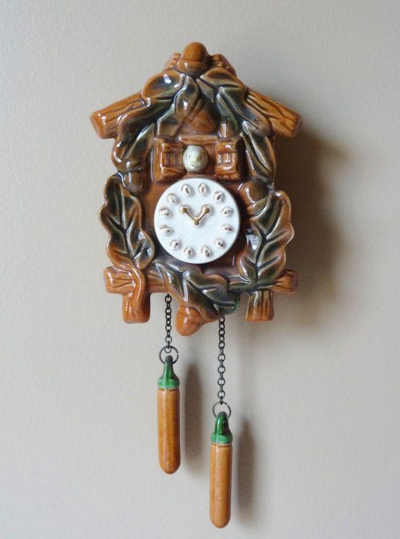 Vintage Ceramic Cuckoo Clock Wall Pocket Planter Antique