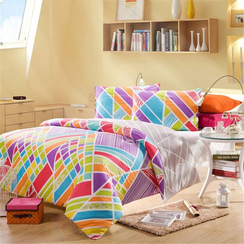 Exceptionnel Red Purple Turquoise And Lime Multi Colored Hippie Style Bohemian Chic  Abstract Design Youth 100% Cotton Full, Queen Size Bedding Sets    EnjoyBedding.com
