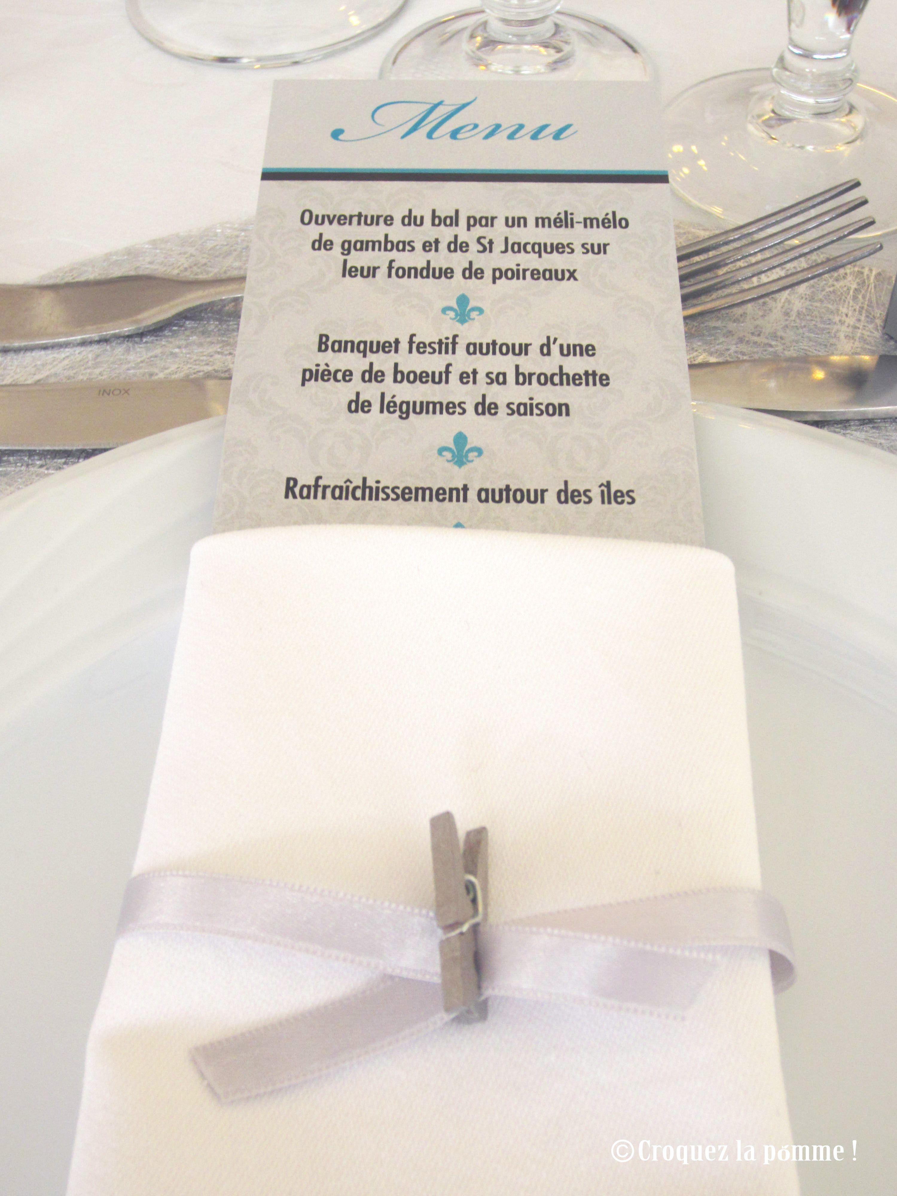 Menu Mariage Château Turquoise gris argenté Wedding Menu Sur-mesure par Croquez la pomme !