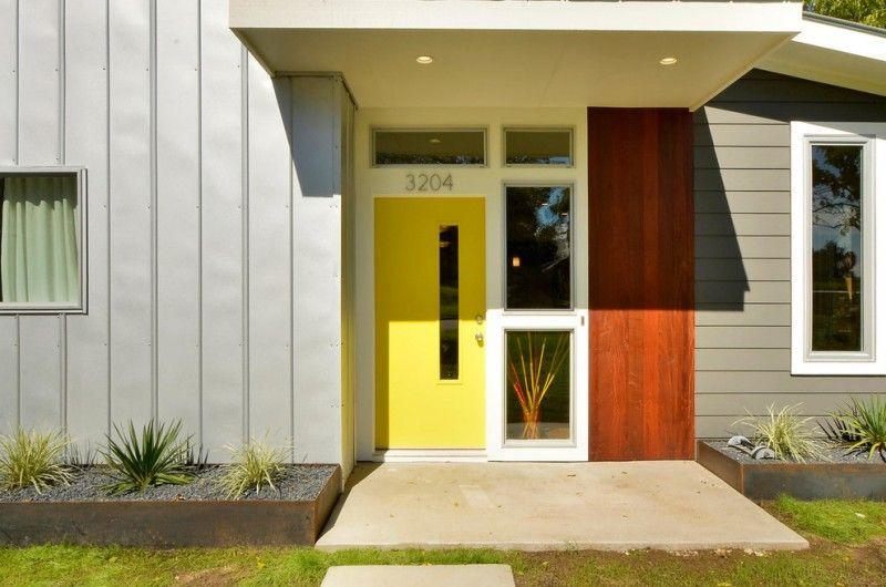 Mid Century Modern Entryway Modern Colonial Front Door In Yellow With Narrow Glass Panel Glass Contemporary Front Doors Yellow Front Doors Colonial Front Door