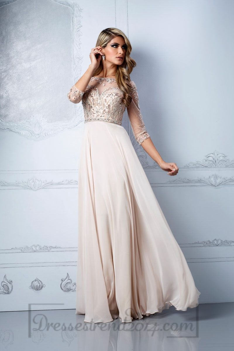 Natural waist keyhole back scoop aline chiffontulle long prom