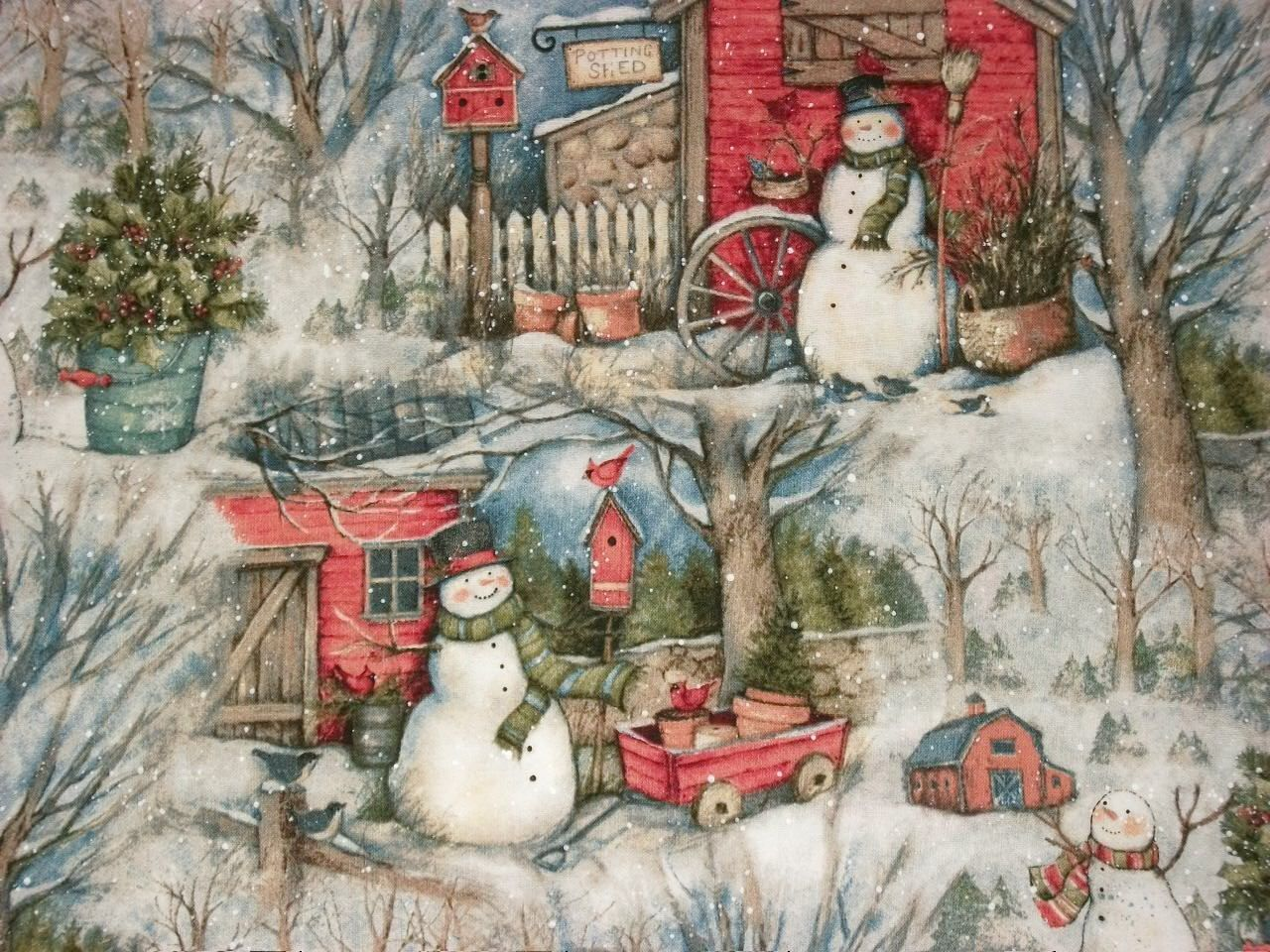 Susan Winget Snowman Fabric Christmas Fabric Winter