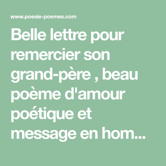 Belle Lettre Pour Remercier Son Grand Père Beau Poème D