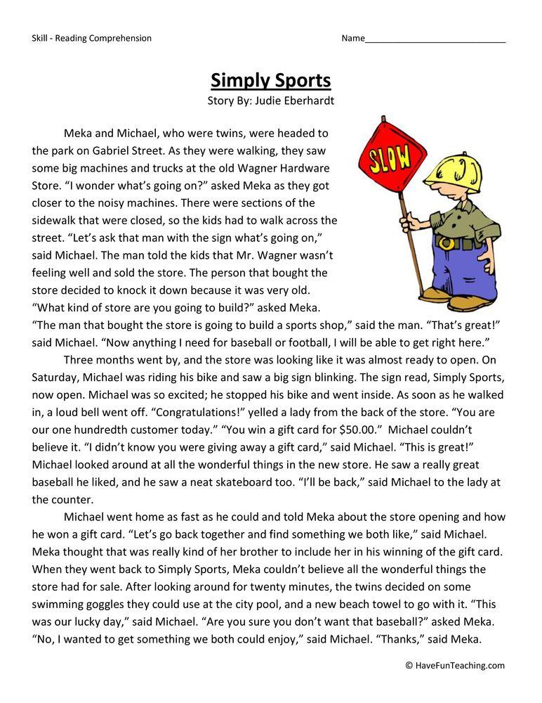 Simply Sports Reading Comprehension Worksheet Reading Comprehension Teaching Reading Comprehension Comprehension Worksheets 6th grade comprehension worksheets