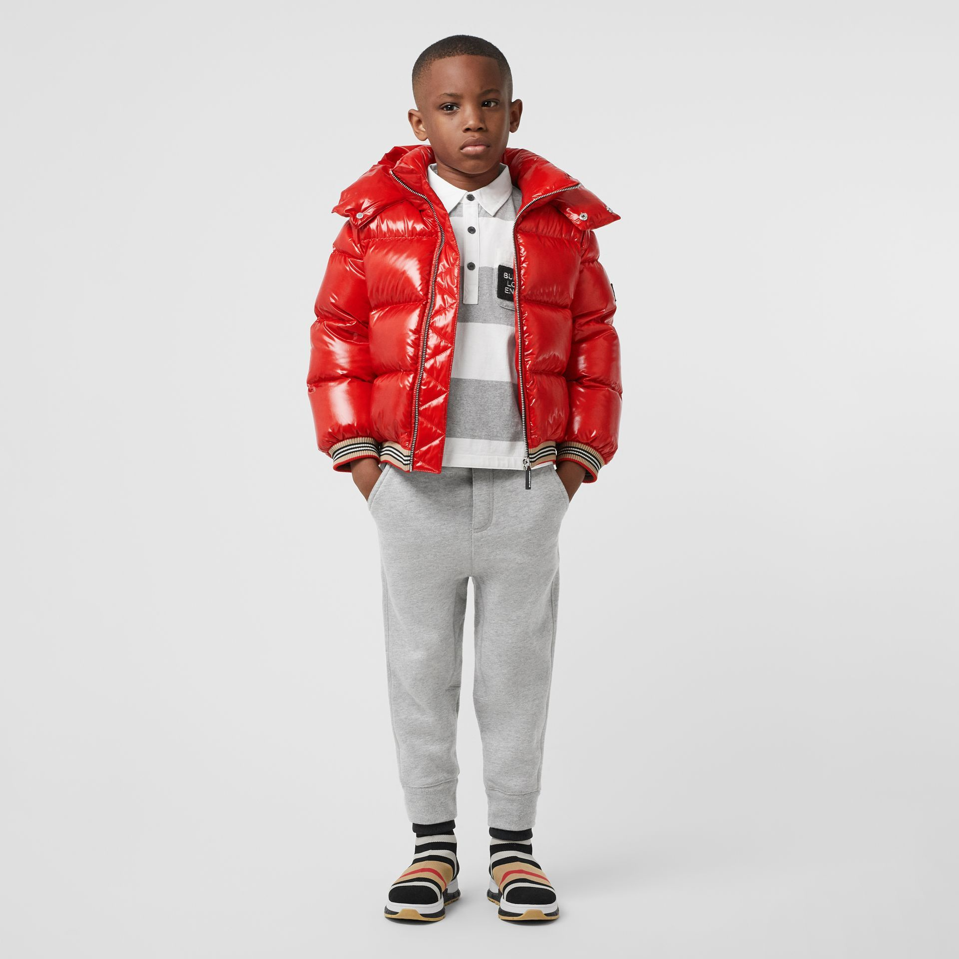 Icon Stripe Detail Down Filled Hooded Puffer Jacket In Bright Red Burberry United States Ad Paid Filled Hooded Kids Jacket Jackets Red Leather Jacket [ 1920 x 1920 Pixel ]