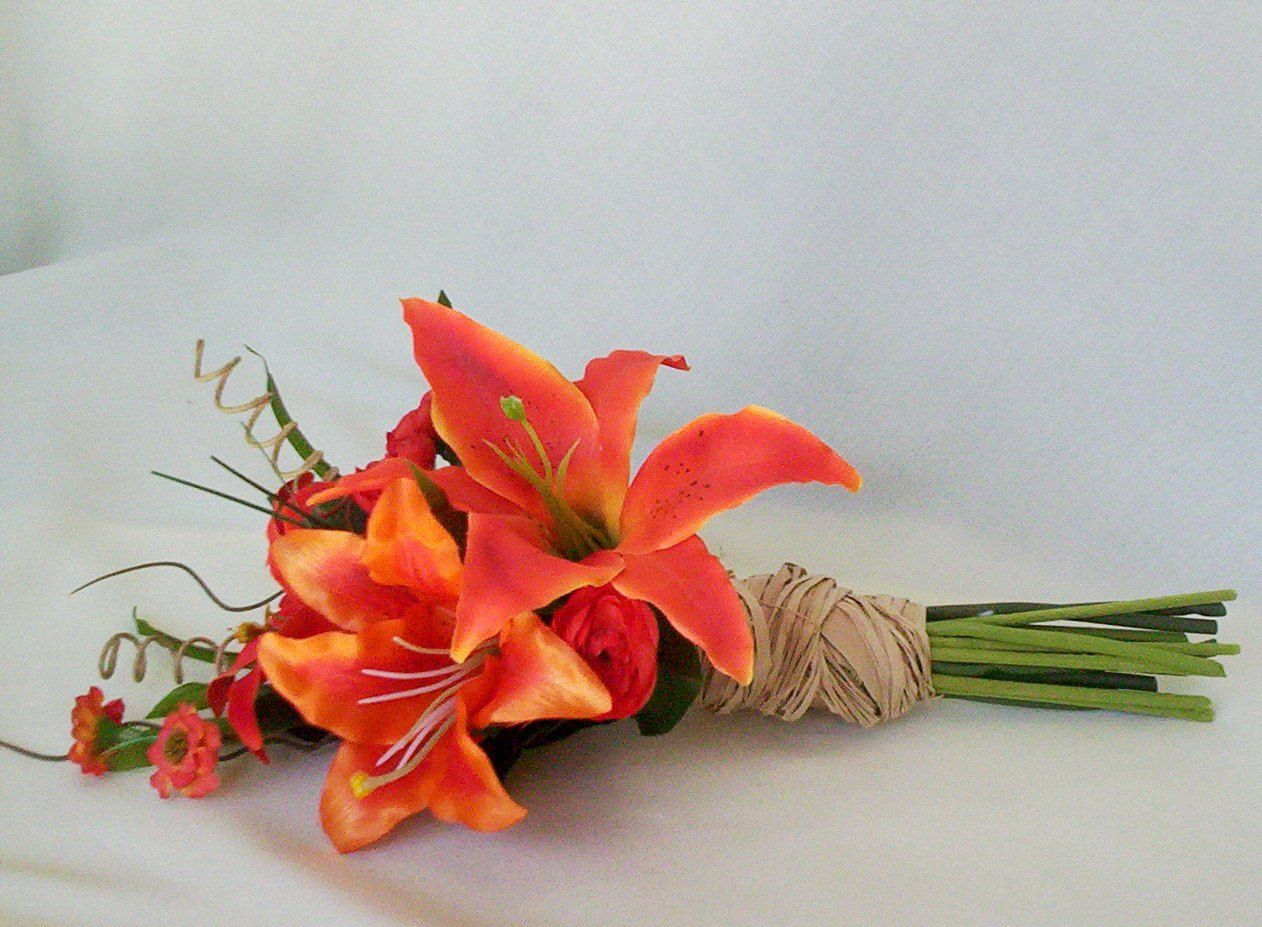 Orange Destination Wedding Flowers Tiger Lily Bouquets Set Of 3 Bridal Party Acessories Bridesmaid Mens Boutonniere Made To Order
