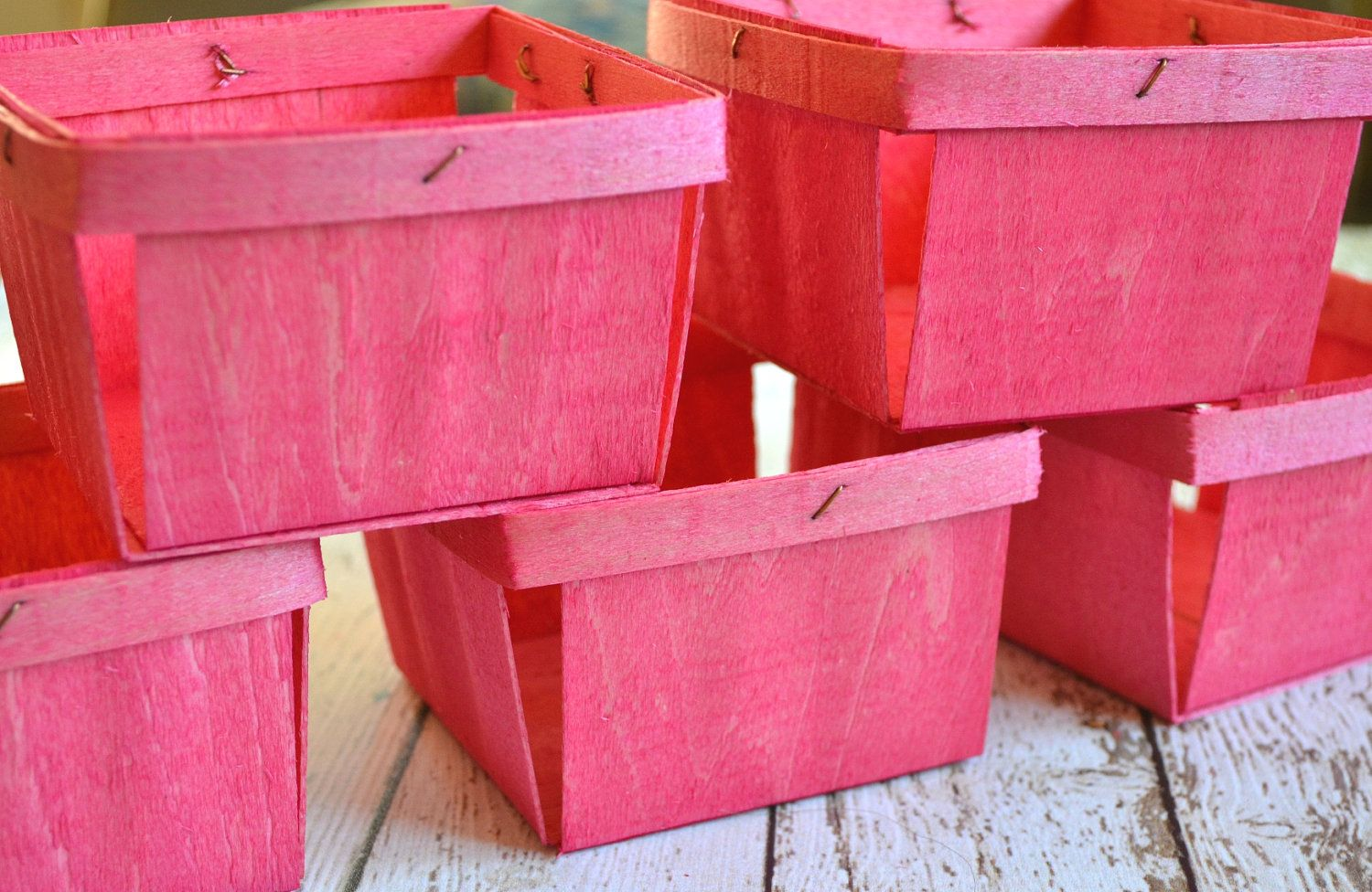 10 hand-stained wood pint berry baskets - you choose the color ...