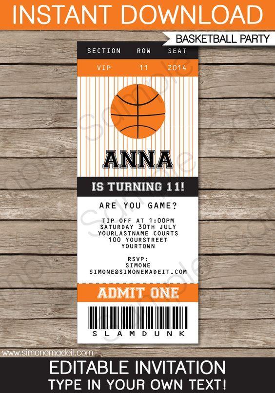 Basketball Ticket Invitation Template – black/orange | Employee\'s ...