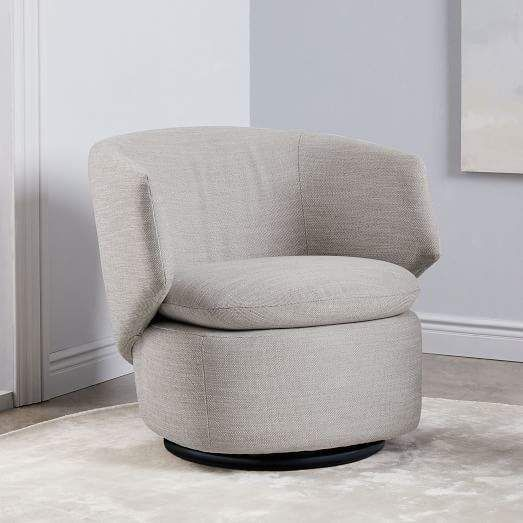 Superb West Elm Crescent Swivel Chair Feather Gray Basket Slub Machost Co Dining Chair Design Ideas Machostcouk